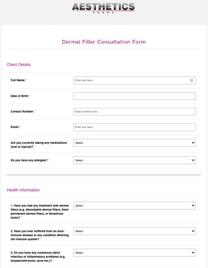 Dermal Filler Consultation Form