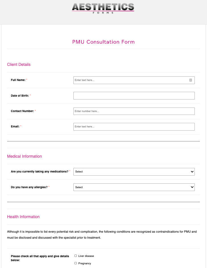 PMU Permanent Makeup Consultation Form