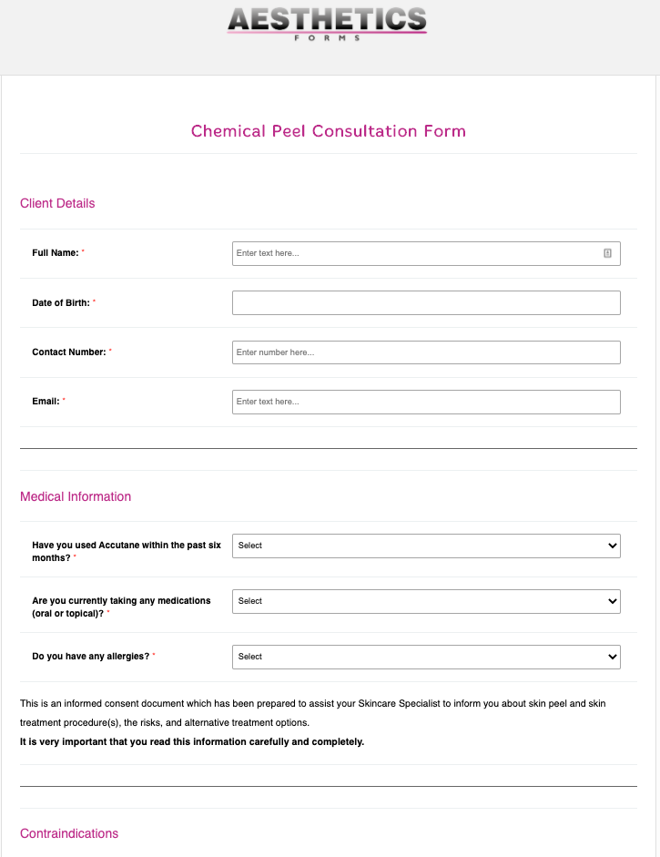 Chemical Peel Consultation Form