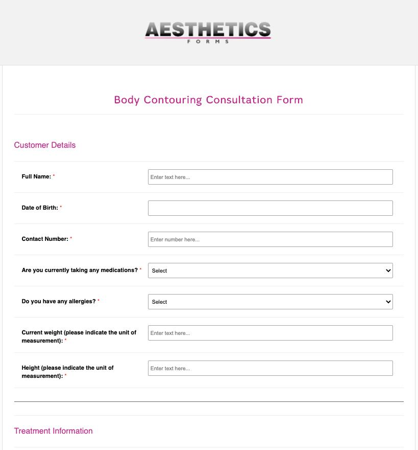 Body Contouring Consultation Form