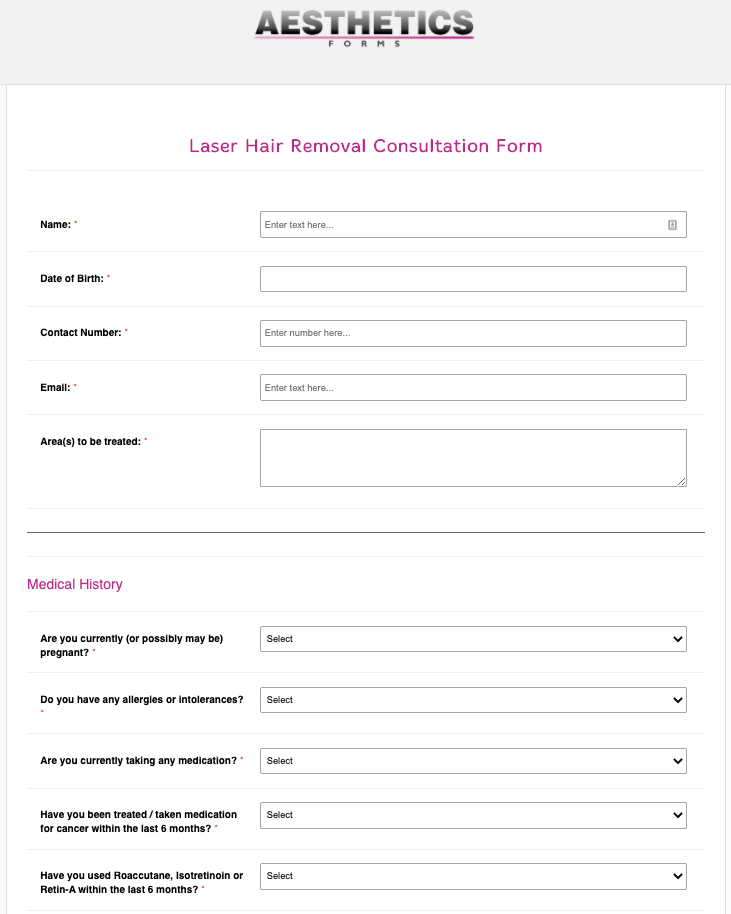 Laser Hair Removal Consultation Form