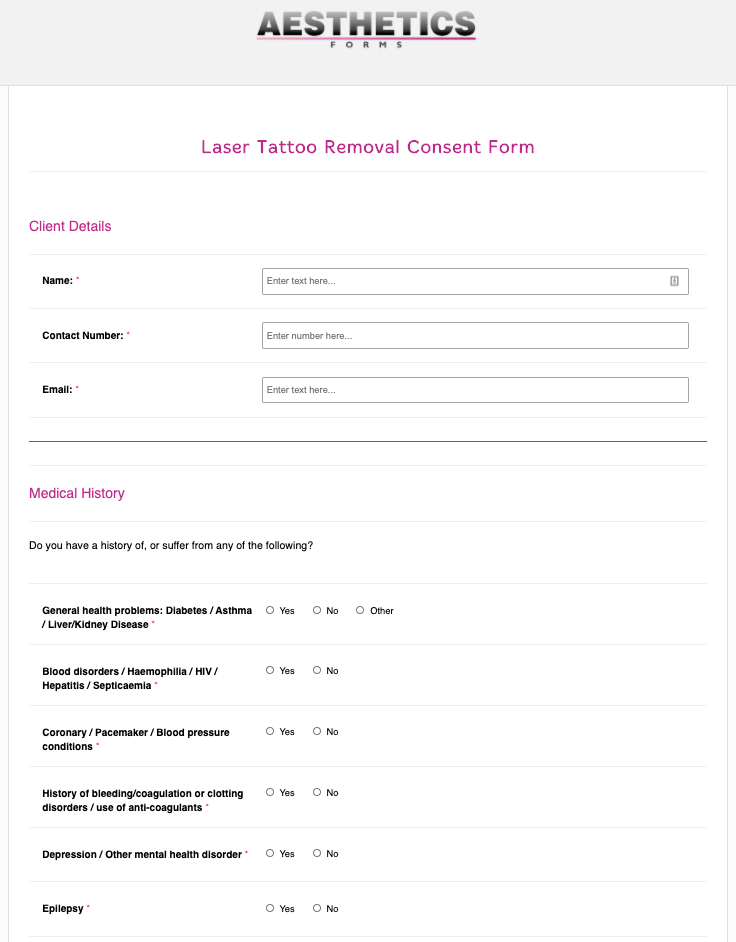 Laser Tattoo Removal Consent Form