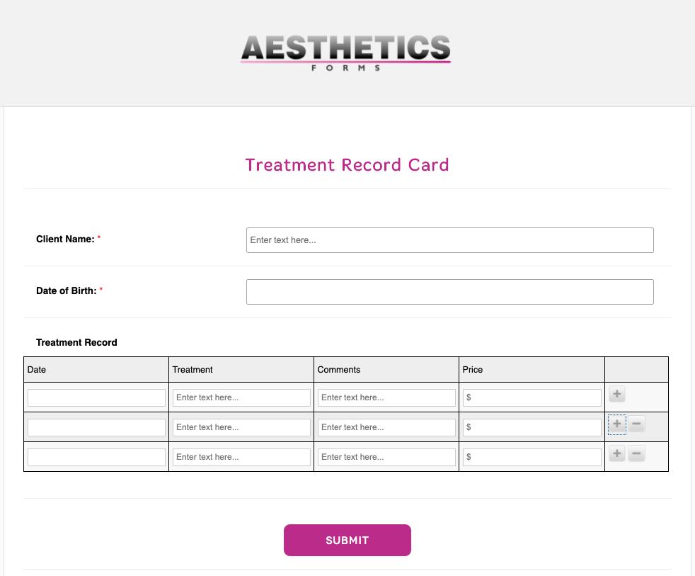 Aesthetics Treatment Record