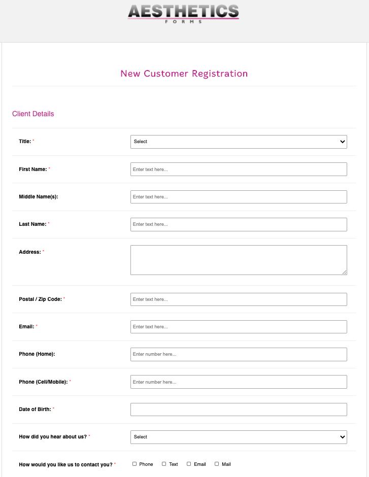 New Customer Registration