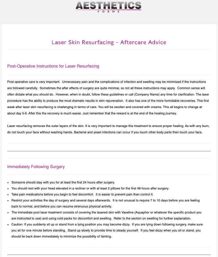 Laser Skin Resurfacing Aftercare Form