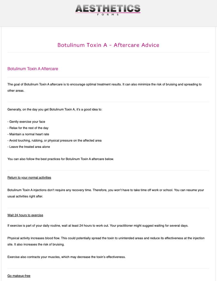 Botulinum Toxin Aftercare Form