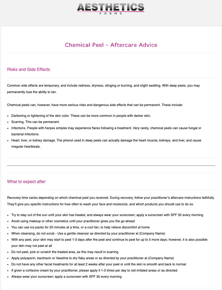 Chemical Peel Aftercare Form