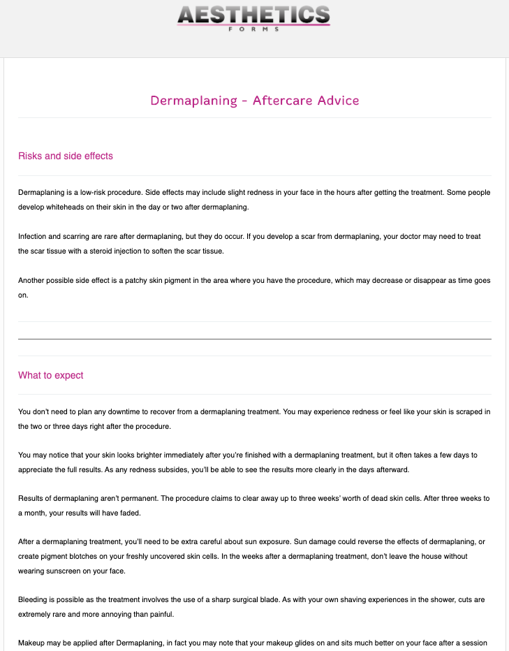 Dermaplaning Aftercare Form