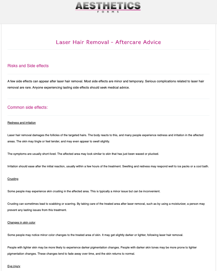 Laser Hair Removal Aftercare Form