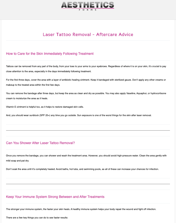 Laser Tattoo Removal Aftercare Form