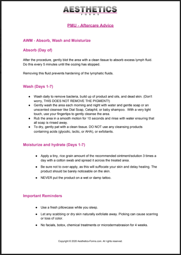 PMU Aftercare PDF