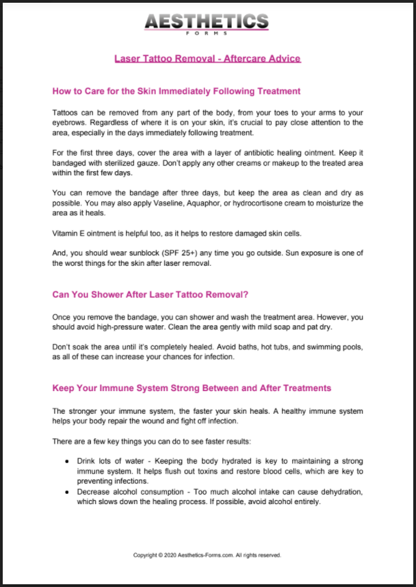 Laser Tattoo Removal Aftercare PDF