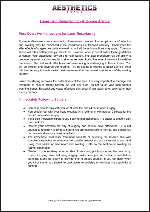 Laser Skin Resurfacing Aftercare PDF