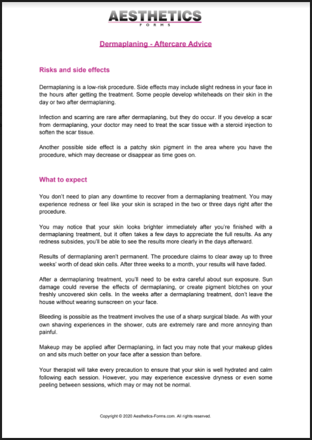 Dermaplaning Aftercare PDF