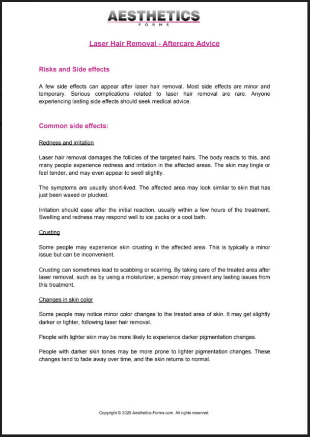 Laser Hair Removal Aftercare PDF