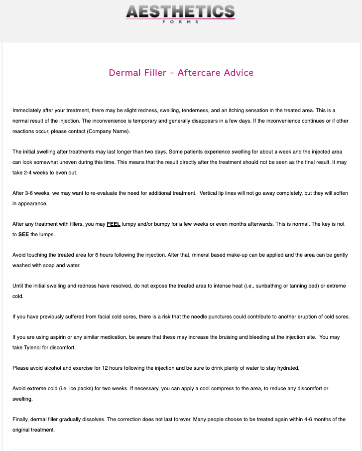 Dermal Filler Aftercare Form