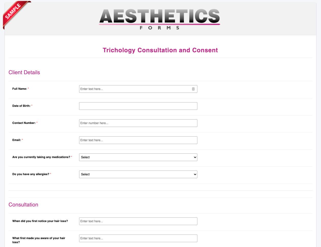 Trichology Consultation Form